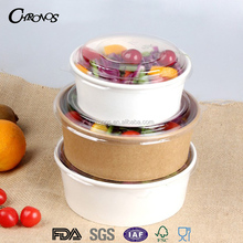Wholesale disposable food container paper salad bowl with lid