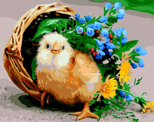 GX8410-40*50 chick and flower in Small bamboo basket oil painting by numbers on canvas for kitchen