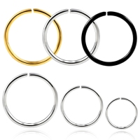 Wholesale 316L stainless steel plate black hoop non piercing fake nose ring