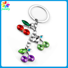 Wholesale Leaves Handcraft Cute Apples Diamonds Crystal CZ Silver Plating Key Ring Acrylic Keychain
