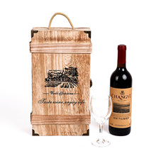 wholesale wooden wine bottle gift box with anti-collision protective angle