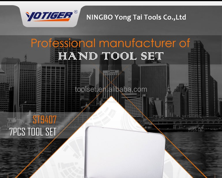 Alibaba Ningbo Manufacturer,Factory OEM 7Pcs Tin box Tool Set