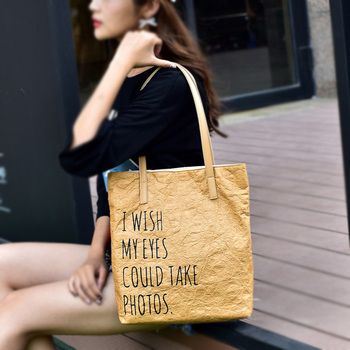 Custom washable kraft paper bag shopping bags women handbags ladies tote bag