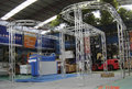 3x6 modular tradeshow stand with display shelves made of aluminium truss stand