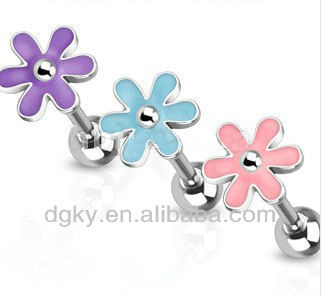 Assorted Color Surgical Steel Flower Barbell Tongue Piercing