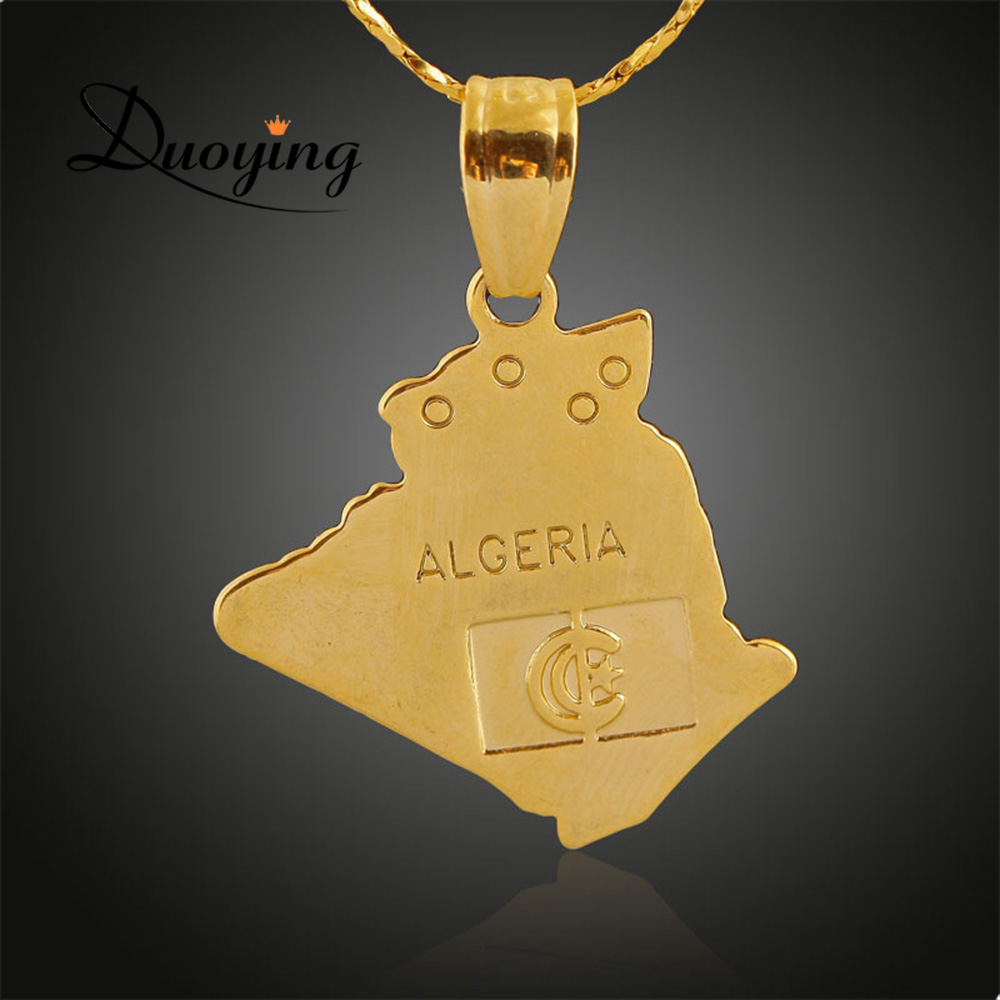Stock Fashion Hot Sell Top Quality Map Shape Pendant 18k Gold Jewelry Flag Moon And Star Country Algeria Symbol Map Necklace