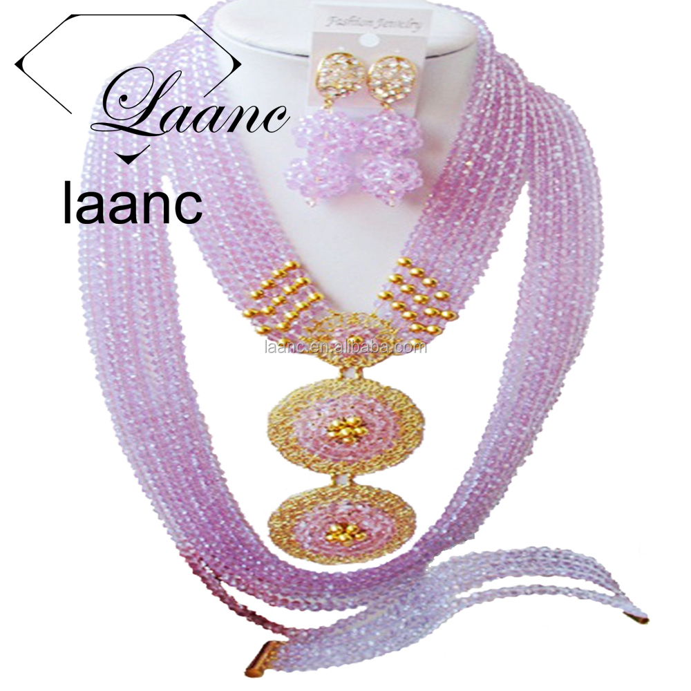 Sell Well New Type 10 Rows Lilac Crystal Nigerian Wedding African Beads Jewelry Sets