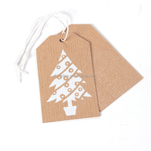 Sinicline gift die cut kraft paper hang tag with eyelet and nylon rope