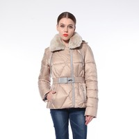 Warm With Hood Fashion Women'S Elegant Pink Winter Leather Jacket