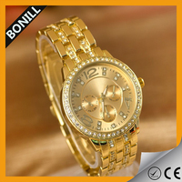 2016 Crystal Gold Watch quality women watch vougue watch Gold Plated