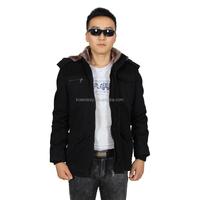 Casual Style Jacket Black Men Fur Coats with Fur Hood