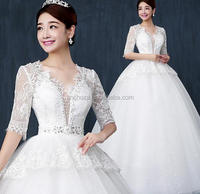 Z54027B Latest Long Lace Sleeve Wedding Dresses Deep V Neck Bridal Gown
