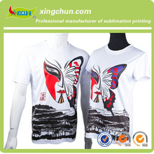 Hot sale 2015 latest design dye sublimation printed mysterious mask couple T shirts for lovers on 95% Polyester 5% cotton