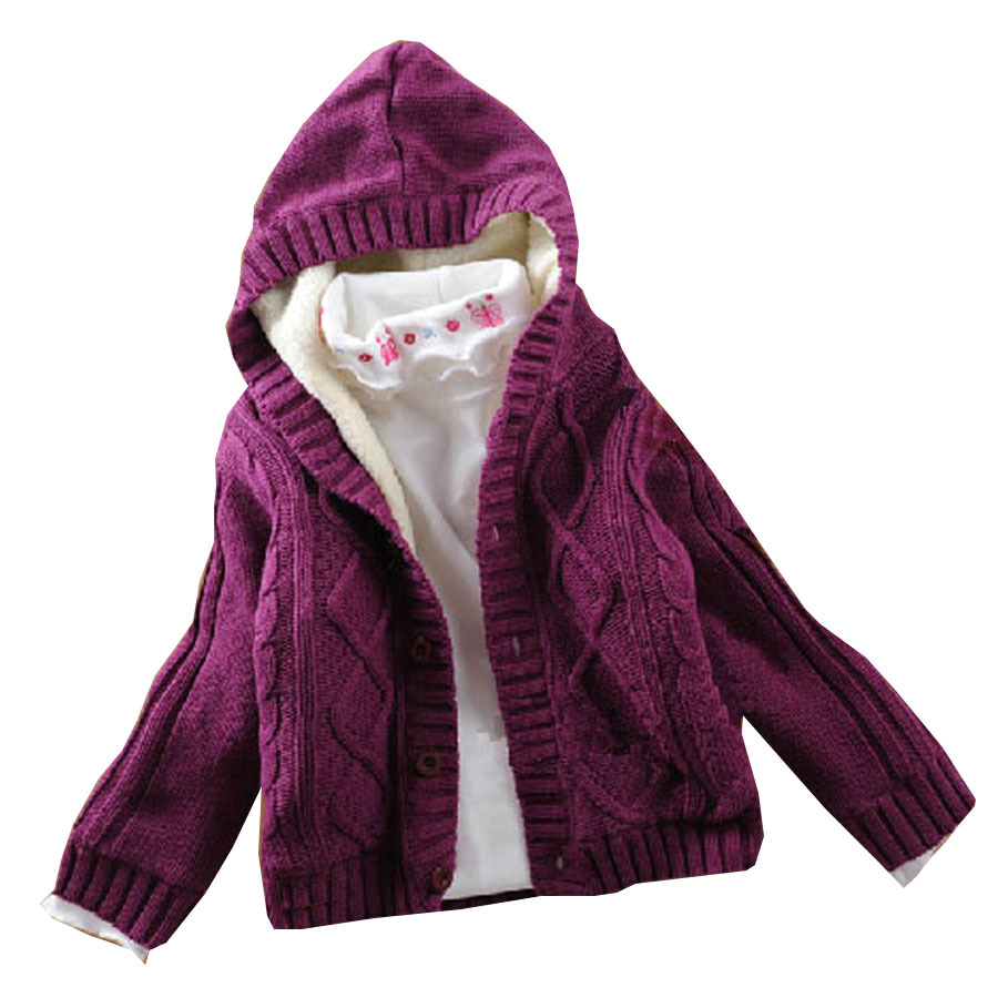 Fashion cute design infant overcoat coral fleece knitting cartoon baby sweater coat with hood