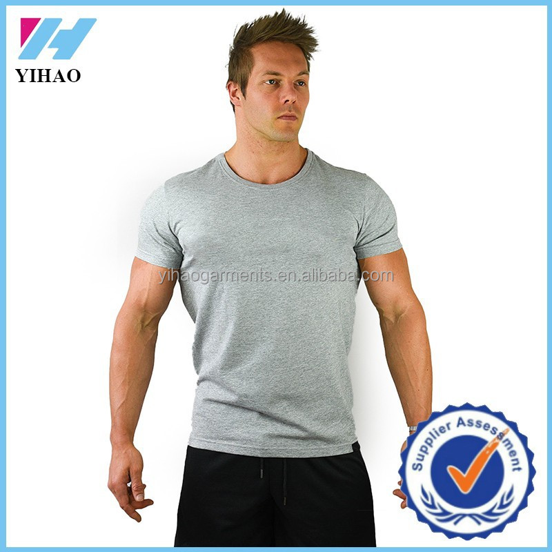 Trade assurance 2016 yihao mens custom gym fitness print for Gym printed t shirts
