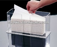 Small Acrylic Easy-Fill Paper Towel Dispenser,acrylic tissue display stand
