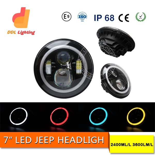 DDL 2016 7 inch Round LED Headlgiht Jeep Wrangler LED Headlights Angle Eye Assembly