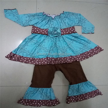 Fashion Cotton Children Long Sleeves Christmas Clothing Sets Girls Smocked Baby Outfit