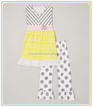 Hot sell baby boutique clothes summer baby new wear yellow top dots pants lovely children's sets