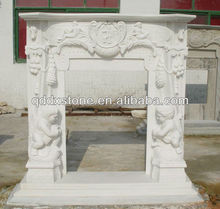 nature white granite stone engraved fireplace