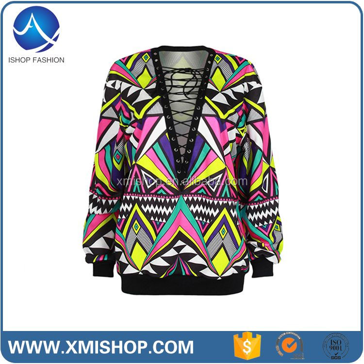 Hot Selling Fashion Printed Women Transparent Blouse