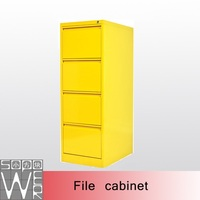 Office steel drawer yellow steel 4 tier filing cabinet