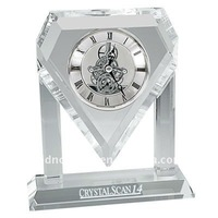 Diamond Shaped Crystal Gear Skeleton Clock