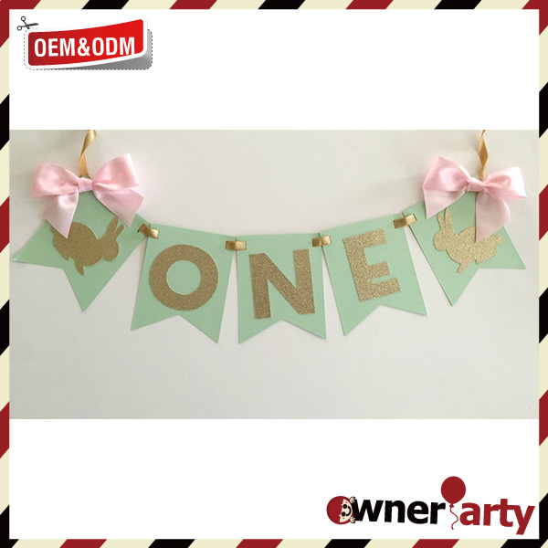 Wholesale Party Decoration Custom Purple Pvc / Paper / Fabric Baby Bunting
