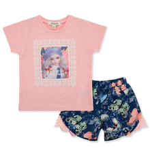Personality Kids Girl Clothes Set Pink Summer Wear 100% Cotton 2-6T Baby Wear Wholesale Children's Boutique Clothes