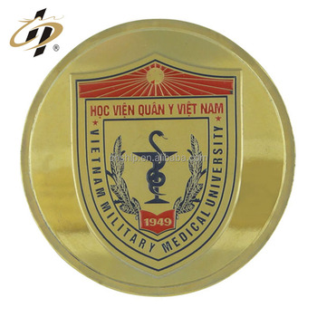 Wholesale cheap custom school company anniversary souvenir badge gold metal coin