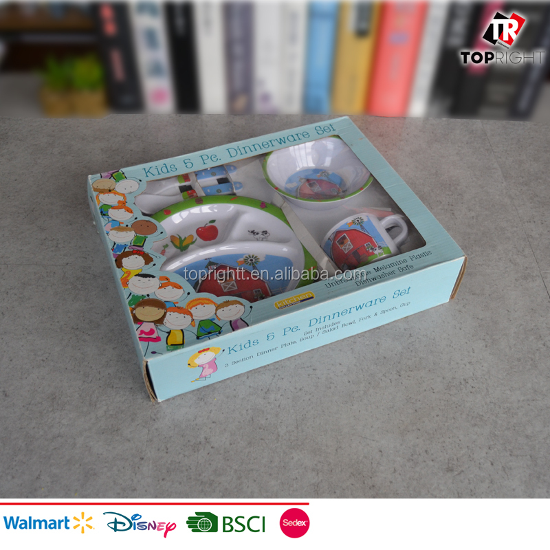 Newest 5pcs melamine kids dinner set with color box