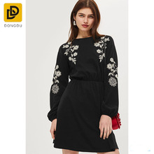 Embroidered Balloon Sleeve Vintage Dress Black Women Mexican Embroidered Dress