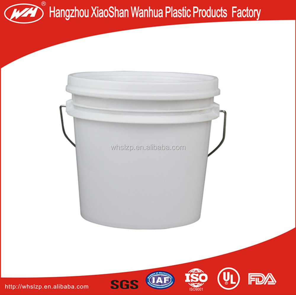 1 gallon plastic pail with lid and mental handle for pet-food storage