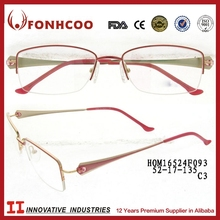 FONHCOO Alibaba China Supplier Stylish Designer Half Rim Red Alloy Metal Optical Frame