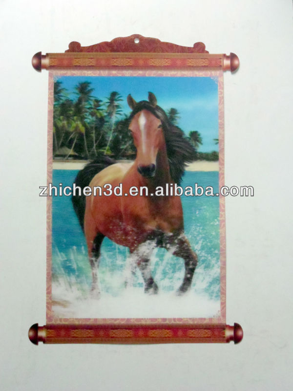 PET Lenticular Home Decoration 3D Wall Pictures Of Horse