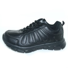 KC7002 School student EVA sole light weight sport shoes, kids black school shoes, Pu footwear for children