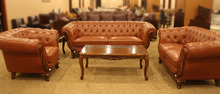 Vintage style button leather sofa set living room furniture