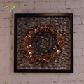 Decorative flower with frame metal art wall hanging sculpture