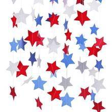 Red White Blue Star Streamers Patriotic 4th of July Decorations Twinkle Stars Glitter Paper Garlands
