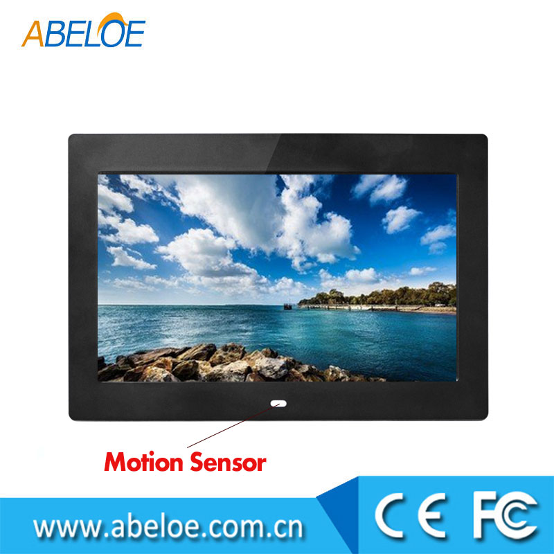 Memory recording 10 inch high definition LCD ads digital picture frame with auto on & off