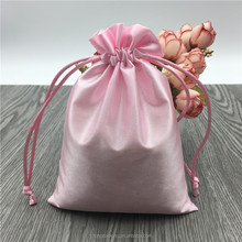 Custom Pink Glossy Satin Jewelry Gift bags With Logo