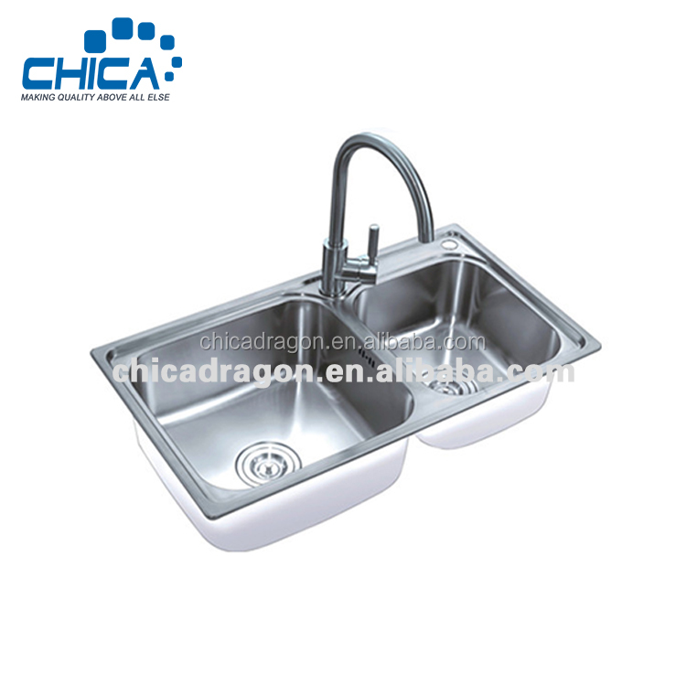 Best discount 304 SS double bowl kitchen sink with overflow hole from China factory