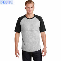 fashion high quality 100% cotton sport mens colorblock combination raglan jersey crewneck dry fit men's t shirts wholesale china