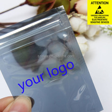 Inside Readable Light Grey Color Zipper Faraday Shielding Antistatic Bag with Metal In