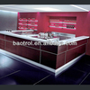 Prefabricated custom red solid surface kitchen stove island
