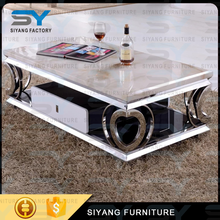 Love heart-shaped metal coffee table legs glass coffee table foshan coffee table design CJ007