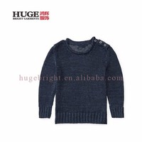 Three-button Placket At The Left Shoulder Hand Knitted Children Sweater