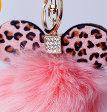 Innovative design original fox fur ball with ears keychain