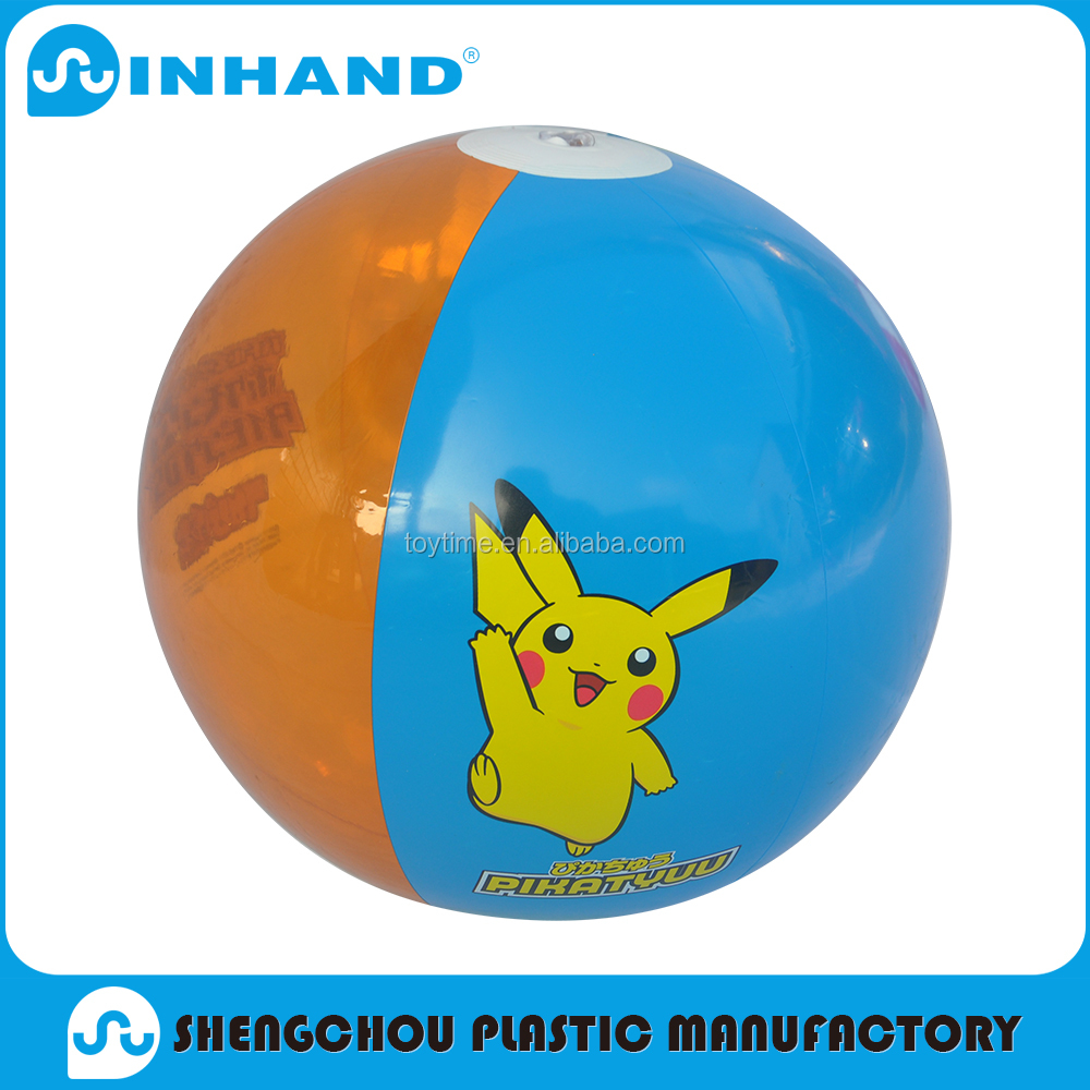 factory sale eco friendly durable cartoon blue pvc inflatable glow beach ball, water ball. bouncer ball