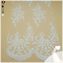 Chinese supplier floral white bridal embroidered tulle lace fabric